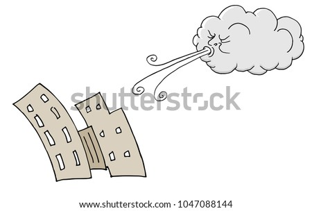 An image of a Windy Day Buildings and Cloud Blowing Wind cartoon.