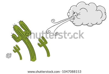 An image of a Windy Day cactus and Cloud Blowing Wind cartoon.