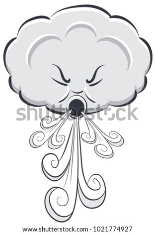 An image of a Windy Day Cloud Blowing Wind isolated on white.