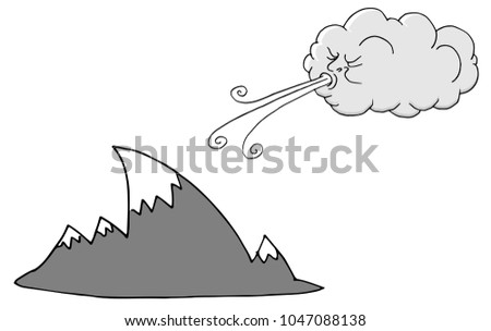 An image of a Windy Day Mountains and Cloud Blowing Wind cartoon.