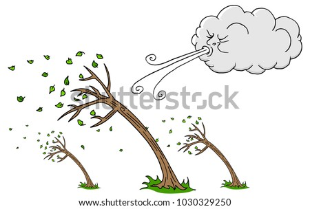 An image of a Windy Day Trees and Cloud Blowing Wind cartoon.