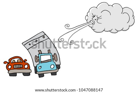 An image of a Windy Day Truck Cars and Cloud Blowing Wind cartoon.