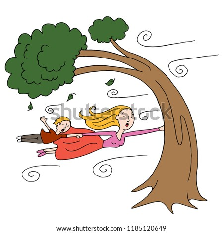 An image of a windy day with mother and child clinging to a tree.