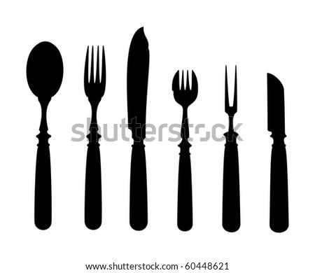 Kitchen Utensils Silhouette Vector Free free vintage kitchen utensils set - download free vector art