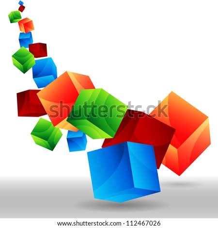 An image of falling 3d cubes.