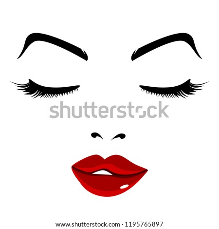 An image of Pretty Face Girl Eyes Closed Red Lips.
