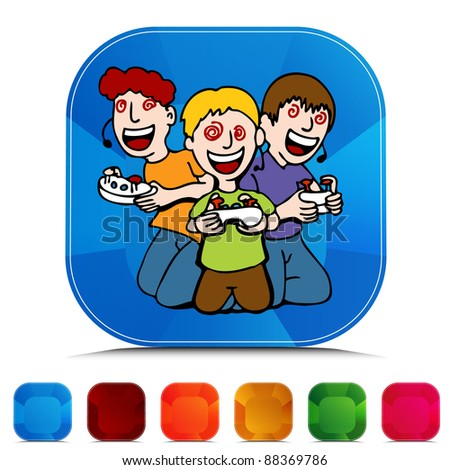An image of Video Game Addicted Kids gemstone button set.