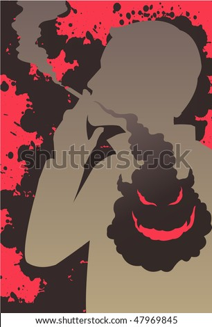 An image showing a silhouette of man smoking a cigarette while the smoke is going into his chest and forming an evil and demonic looking face