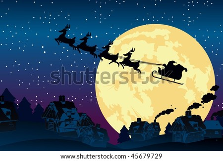 An image showing a silhouette of Santa Claus flying on his sleigh being pulled by his reindeer against a backdrop of full moon