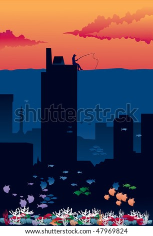 An image showing an entire city flooded with water that is reaching nearly the roofs of skyscrapers, and a silhouette of a single man sitting on a roof of skyscraper and fishing in that water