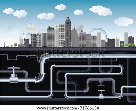 An imaginary big city with skyscrapers, blue sky,trees and tubes. vector illustration Europe