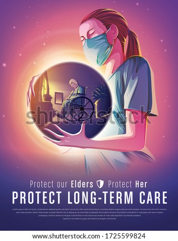 An imaginary illustration featuring the female long-term care worker holding an abstract spherical shape that has the image of the female elder sitting on her wheelchair alone in the room.