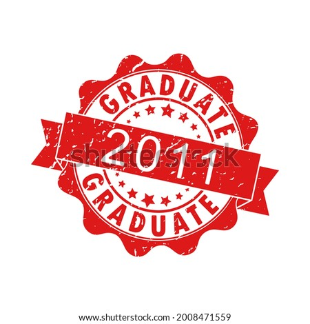An impression of an old worn stamp with the inscription GRADUATE 2011. Vector illustration for thematic design, alumni meetings, diplomas and certificates. Simple style. Foto stock ©