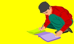 An indian boy cartoon writing text on paper copy alone on yellow background abstract art for educational concept.