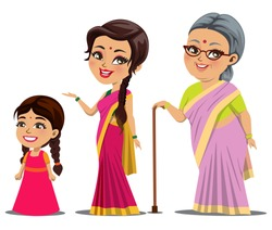 An Indian female growth stages - from a little girl to a beautiful young woman and finally an happy old woman.