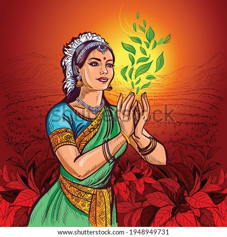 An Indian girl in an ethnic costume, sari, and jewelry holds a swirl of tea bush leaves in her hands. In the background is a pattern of tea leaves. Zdjęcia stock ©