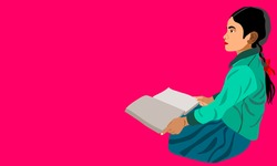 An indian village girl cartoon reading text book alone on pink background abstract art for educational concept.