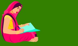 An indian village woman cartoon writing text on paper pad alone on green background abstract art for educational concept.