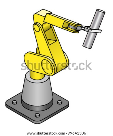 An industrial robot arm holding a shiny metal rod.