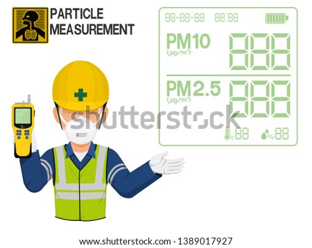 An Industrial worker with dust mask is presenting display screen of the particle detector Foto stock ©