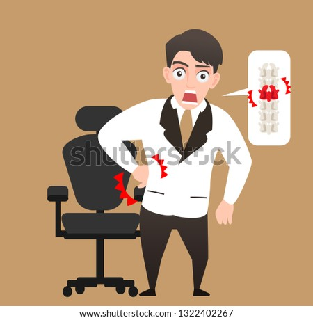 An injured businessman mini cartoon cute style ,Office syndrome infographic vector, man have a backache,backache low back pain,man health,business person feeling pain in back,the guy sitting in wrong.
