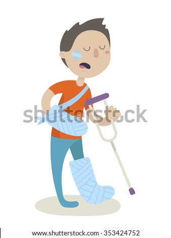 an injured man with crutch and