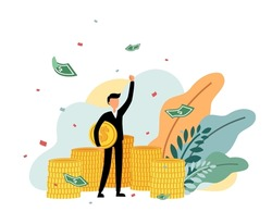 An investor hold a coin, rise hand, banknotes drop and enjoy with his successful growth profit cartoon character isolated on white background flat vector illustration. Doing business and take profit.