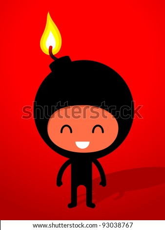 An ironic humorous drawing of a friendly smiling black bomb with burning fuse, cartoon drawing.