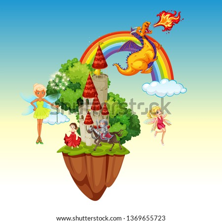 An isolated fairytale land  illustration