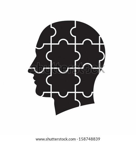 An isolated head with puzzle pieces