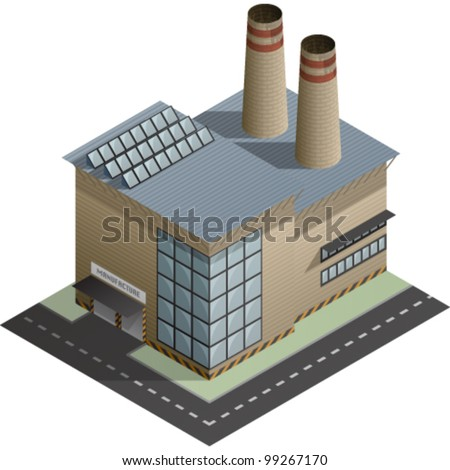 An isometric artwork of an industrial manufacture building saved as an EPS version 10.