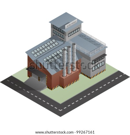 An isometric artwork of an industrial site mill building saved as an EPS version 10.