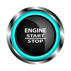 An object is shown in the form of a black engine start button in a metal case with neon lights, with inscriptions engine start, stop with a white transparent flare.