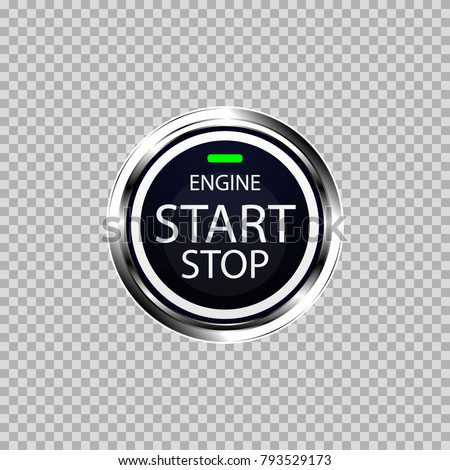 An object is shown in the form of a start and stop button of the engine with an engine start, stop and a green indicator light.
