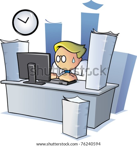 An office employee working late at night behind a desk surrounded by stacks of paperwork.