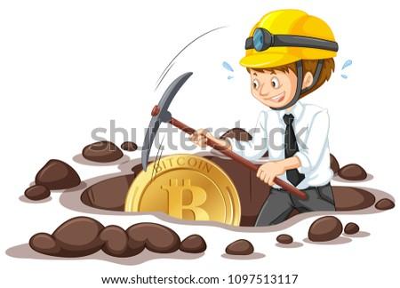 An Office Worker Mining Bitcoin illustration