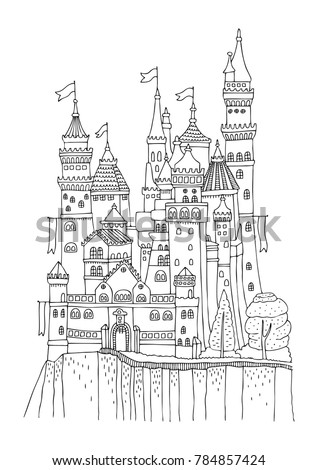 An old castle with many towers and flags. Hand drawn picture. Sketch for anti-stress adult coloring book in zen-tangle style. Vector illustration for coloring page, isolated on white background.