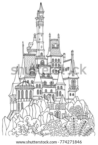 An old castle with many towers. Hand drawn picture. Sketch for anti-stress adult coloring book in zen-tangle style. Vector illustration  for coloring page, isolated on white background.