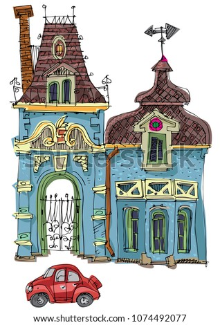 An old cute palace -like mansion with gate and vane. Cartoon. Caricature.