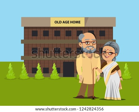 An old Indian man and woman are standing outside an old age home.