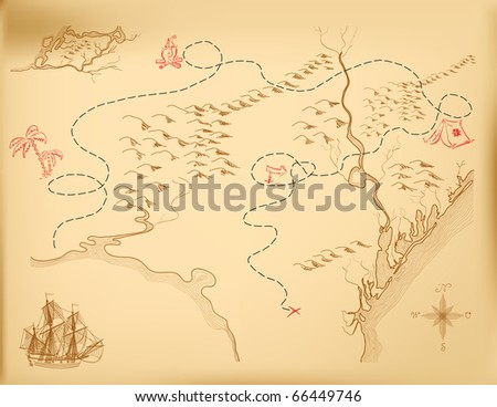 An old map of the island, indicating the route. Vector.