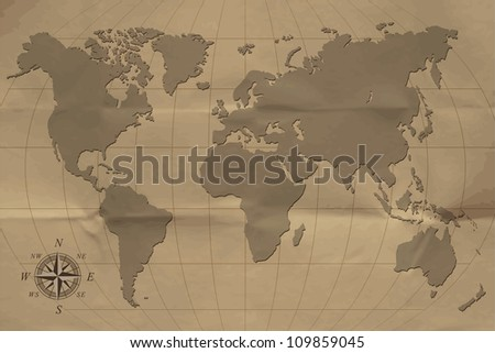 an old map of the world. vector ...