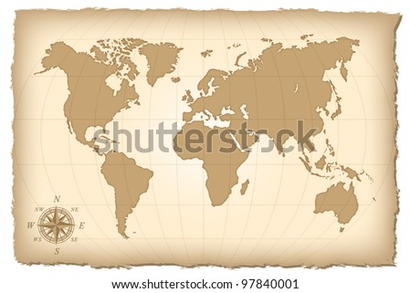 An old map of the world. Vector illustration. Eps10