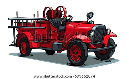 An Old Retro Fire Truck Isolated On White. Cartoon Illustration