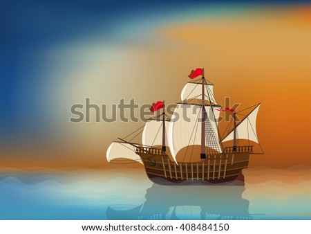 An old sailing ship in the sea at sunset with blank place for your text