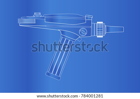 an old style ray gun blueprint