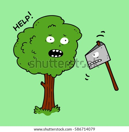 an old tree and an ax with a