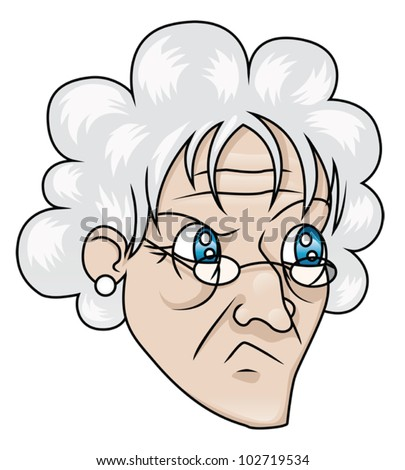 An old woman with a suspicious expression. EPS8 Vector.