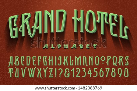 An old world alphabet with a vintage luxury hotel vibe. This font has a victorian, art deco, or art nouveau style.