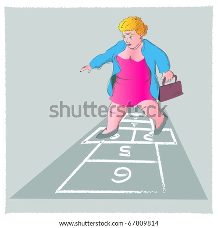 an older woman is playing hopscotch